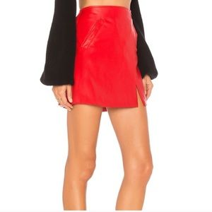 Blank NYC Old Flame Red Vegan Leather Skirt